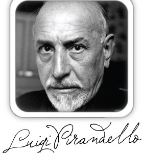 Luigi Pirandello fotografia primo piano e firma autografa