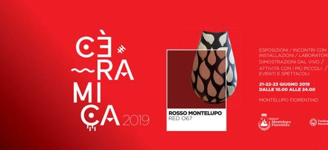 banner Cèramica 2019, sfondo rosso, colore pantone, rosso montelupo, date manifestazione